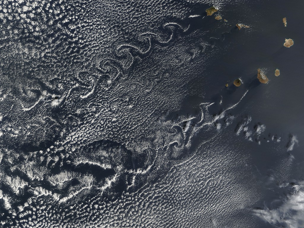 Cloud patterns downwind of Cabo Verde (satellite image courtesy of NASA)